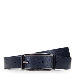 Women's reversible leather belt with rectangular buckle, navy blue-black, 91-8D-304-7-XL, Photo 1