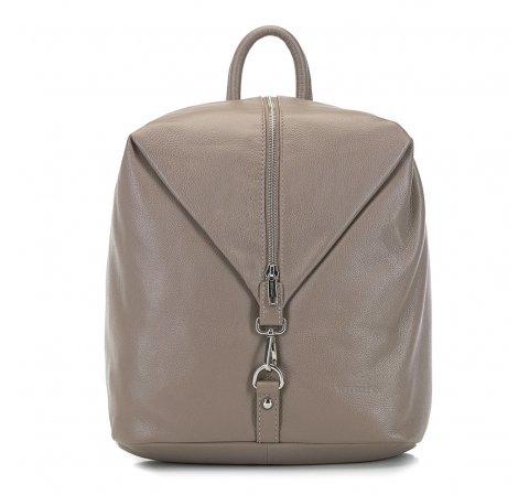 skórzany plecak damski, ciemny  beż, 91-4E-303-9, Zdjęcie 1