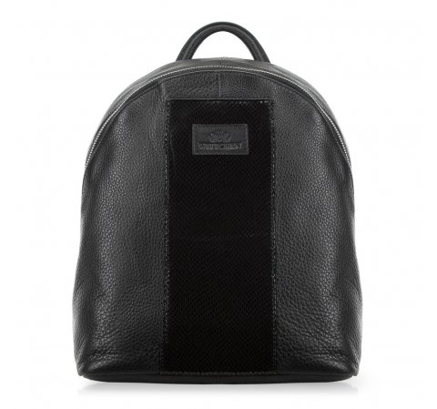 Damski plecak skórzany z lakierowanym panelem, czarny, 91-4E-307-1, Zdjęcie 1