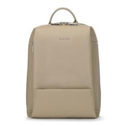 Plecak damski skórzany pudełkowy, beżowy, 91-4E-605-9, Zdjęcie 1