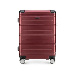 Średnia walizka z ABS-u w poziome paski, bordowy, 56-3A-442-35, Zdjęcie 1
