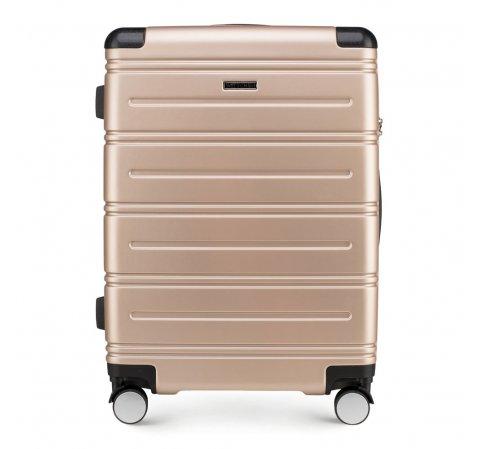 Średnia walizka z ABS-u w poziome paski, szampański, 56-3A-442-90, Zdjęcie 1