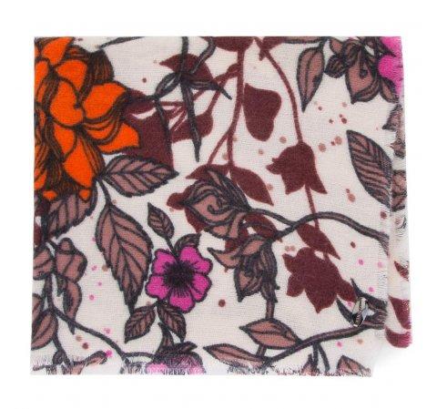 Damski szal w kwiaty i motyle, kremowo-pomarańczowy, 91-7D-X22-X1, Zdjęcie 1
