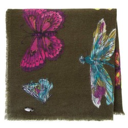 Damski szal we wzór motyli, khaki, 91-7D-X23-X1, Zdjęcie 1