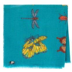 Damski szal we wzór motyli, miętowy, 91-7D-X23-X2, Zdjęcie 1