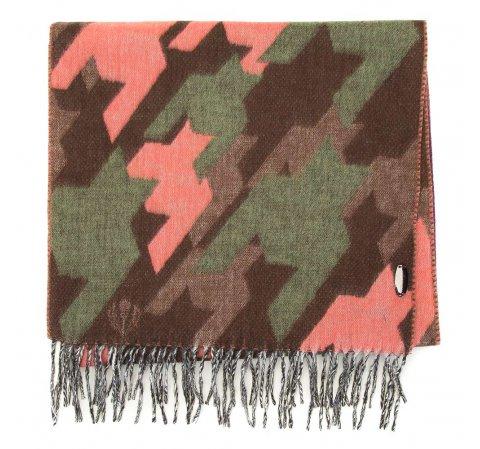 Damski szal w deseń puzzli, brązowo - różowy, 91-7D-X27-X1, Zdjęcie 1