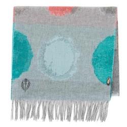 Damski szalik z wełną wzorzysty, szaro - turkusowy, 91-7D-X32-X1, Zdjęcie 1