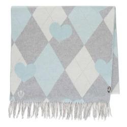 Damski szalik z wełną w stonowany wzór, szaro - niebieski, 91-7D-X32-X3, Zdjęcie 1