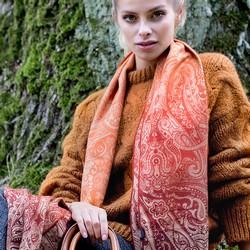 Women's scarf, orange, 87-7D-X04-X4, Photo 1