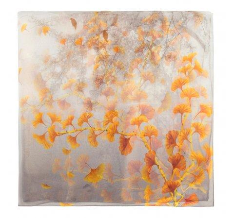 Damski szal jedwabny, szaro - pomarańczowy, 90-7D-S40-X2, Zdjęcie 1