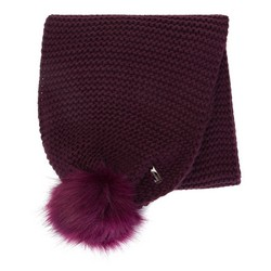 Women' s knitted scarf with pom poms, burgundy, 91-7F-001-F, Photo 1