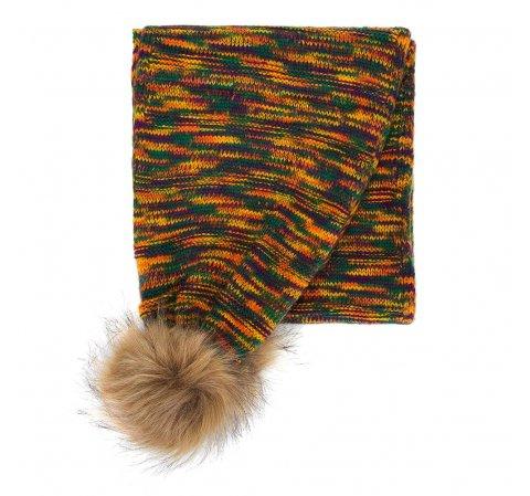 Damski szalik marmurkowy z pomponami, multikolor, 91-7F-002-ZY, Zdjęcie 1