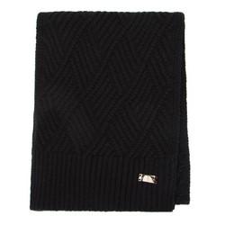 Damski szalik klasyczny o splocie w karo, czarny, 91-7F-003-1, Zdjęcie 1