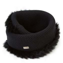 Women's snood with fur trim, black, 91-7F-004-1, Photo 1
