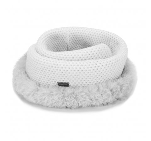 Women's snood with fur trim, light grey, 91-7F-004-8, Photo 1