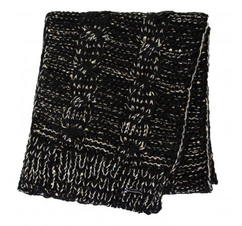 Women's scarf with metallic thread, black-gold, 91-7F-200-1X, Photo 1