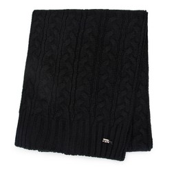Women's cable knit scarf, black, 91-7F-201-1, Photo 1