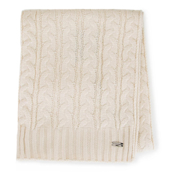 Women's cable knit scarf, cream, 91-7F-201-7, Photo 1