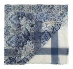 Szal damski, niebiesko - biały, 82-7D-X43-X01, Zdjęcie 1
