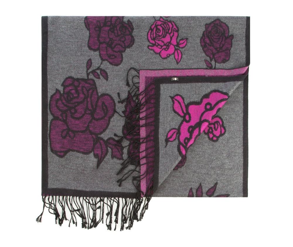 Платок женскийЖенская шаль выполнена из шелка с знаком наивысшего качества King Silk. Интересные мотивы, украшающие шарф отлично разнообразят классику,а благородный материал обеспечивает защиту в холодную погоду.<br><br>секс: женщина<br>Цвет: фиолетовый<br>материал:: Шелк