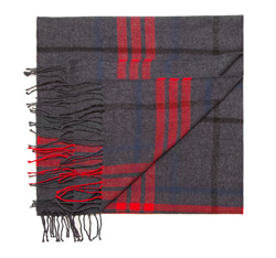 Men's scarf, grey-red, 85-7M-X99-8, Photo 1
