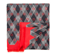 Men's scarf, red-black, 84-7M-S40-X01, Photo 1