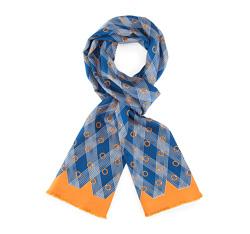 Men's scarf, navy blue-brown, 84-7M-S40-X02, Photo 1