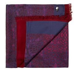 Men's scarf, burgundy-navy blue, 85-7M-S42-X2, Photo 1