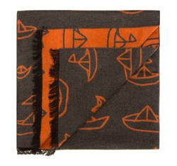 Men's scarf, grey-orange, 85-7M-S40-X1, Photo 1