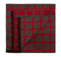 Men's scarf, grey-red, 85-7M-S40-X3, Photo 1