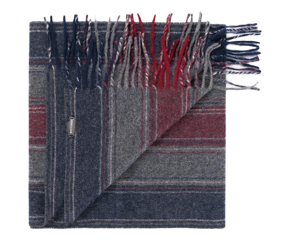 Шарф мужскойМужской шарф выполнен из шерсти. Узор в виде полос  идеально дополнит городской стиль.<br><br>секс: мужчина<br>Цвет: красный<br>материал:: Шерсть<br>ширина (см):: 30
