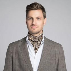 Men's scarf, brown-beige, 90-7M-S40-X2, Photo 1