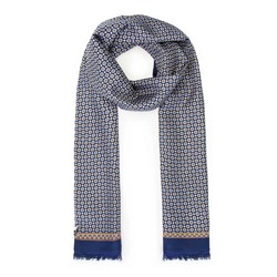 Men's lined silk scarf, navy blue-beige, 91-7M-S41-X1, Photo 1