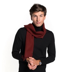 Men's fringe scarf, burgundy, 91-7M-X02-2, Photo 1