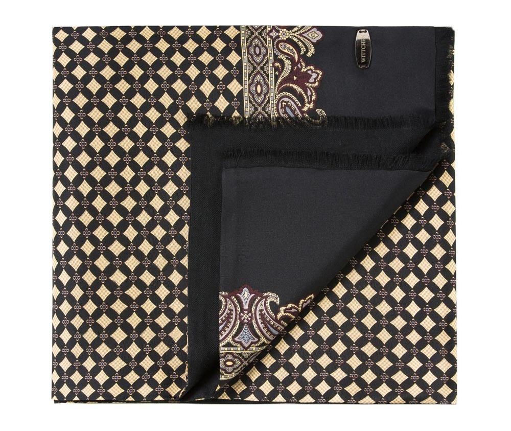 Шарф мужскойДвусторонний мужской шарф выполнен из нежного, роскошного шелка и шерсти. Шарф  отличное дополнение к мужскому образу.<br><br>секс: мужчина<br>Цвет: бежевый<br>материал:: Шелк<br>высота (см):: 146<br>ширина (см):: 26