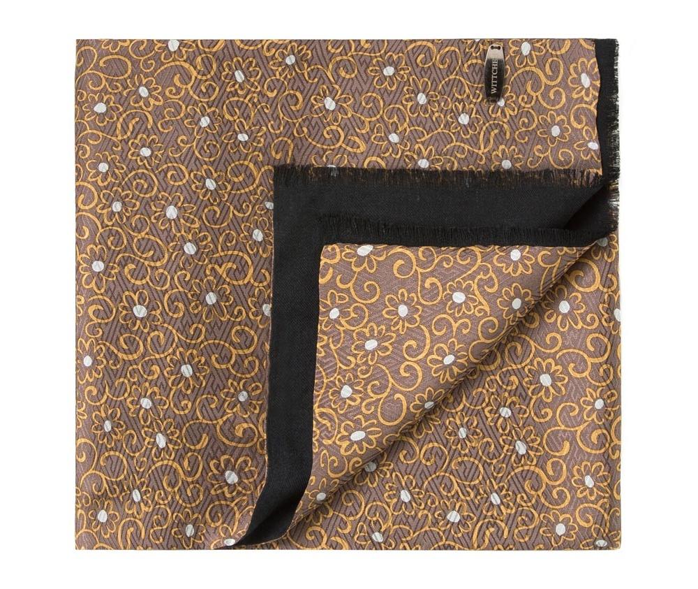 Шарф мужскойДвусторонний мужской шарф выполнен из нежного, роскошного шелка и шерсти. &#13;<br>Шарф  отличное дополнение к мужскому образу.<br><br>секс: мужчина<br>Цвет: коричневый<br>материал:: Шелк<br>высота (см):: 146<br>ширина (см):: 26