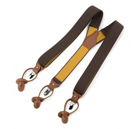 Męskie szelki do spodni, brązowo - żółty, 91-SZ-001-X4, Zdjęcie 1
