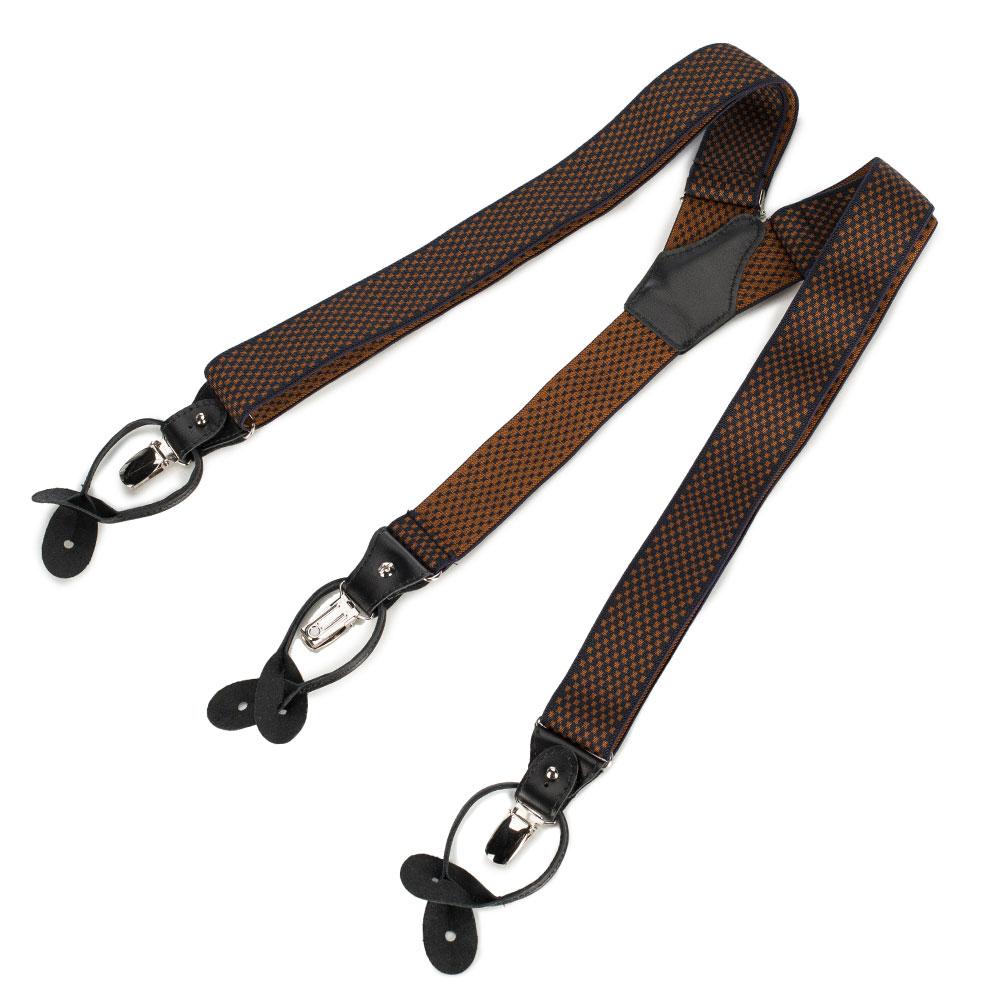 Męskie szelki do spodni ze skórzanymi elementami, czarno - brązowy, 90-SZ-001-X11, Zdjęcie 1