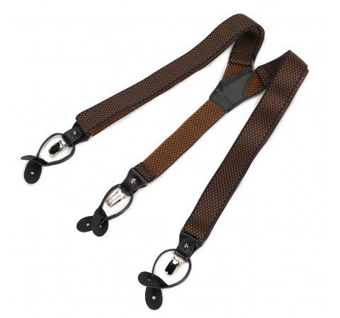 Męskie szelki do spodni ze skórzanymi elementami, czarno - brązowy, 90-SZ-001-X8, Zdjęcie 1
