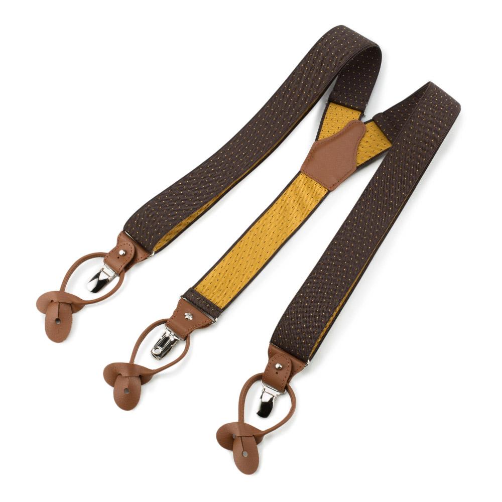 Męskie szelki do spodni ze skórzanymi elementami, brązowo - żółty, 90-SZ-001-X2, Zdjęcie 1
