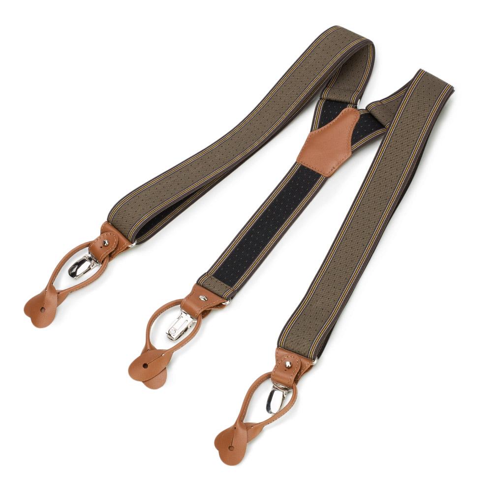 Męskie szelki do spodni ze skórzanymi elementami, brązowo - czarny, 90-SZ-001-X5, Zdjęcie 1