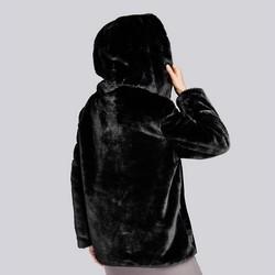Sztuczne futerko z kapturem, czarny, 93-9W-100-1-2XL, Zdjęcie 1