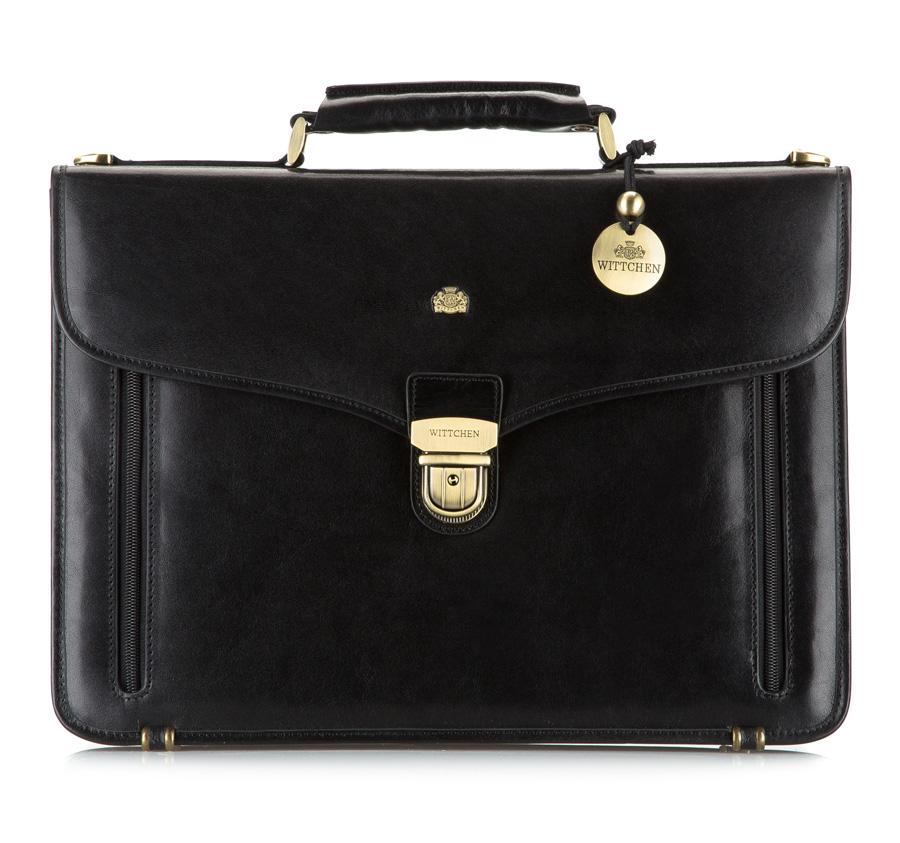 Čierna luxusná pánska aktovka z pravej kože.
