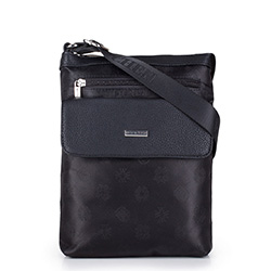 Women's logo fabric messenger bag with pocket, black, 29-4L-300-1, Photo 1