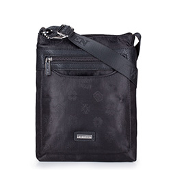 Women's logo fabric messenger bag with a zip pocket, black, 29-4L-301-1, Photo 1