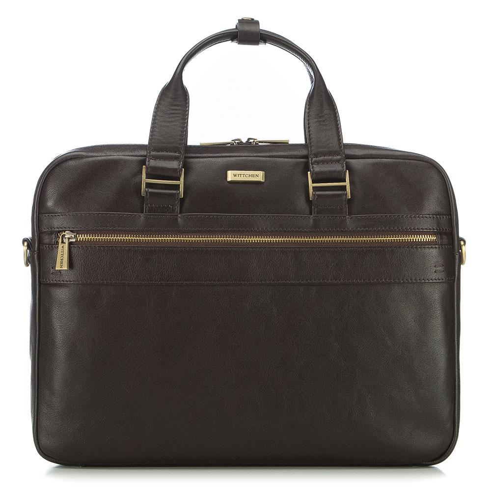 """Kožená taška na 15,6"""" notebook."""