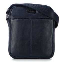 Men's leather messenger bag, navy blue, 91-4U-311-7, Photo 1