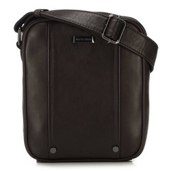 Men's leather messenger bag with stud detail, brown, 91-4U-317-4, Photo 1