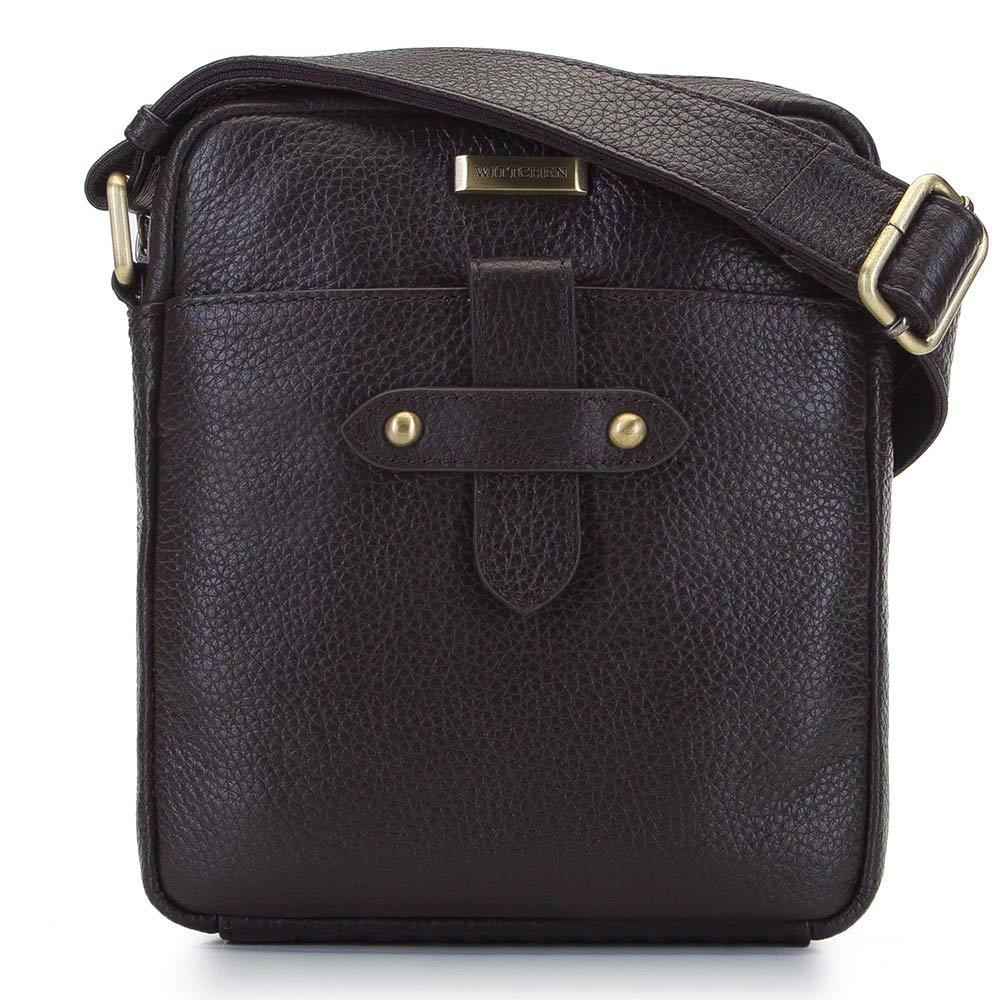 Hnedá kožená crossbody taška pre pánov