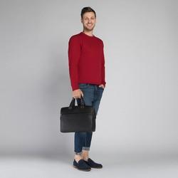 Męska torba na laptopa skórzana z przeszyciami, czarny, 20-3-048-1H, Zdjęcie 1